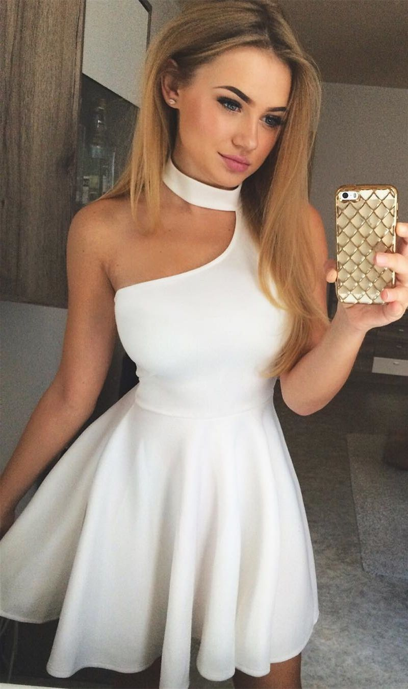 Cheap white stain homecoming dresses short simple halter cocktail