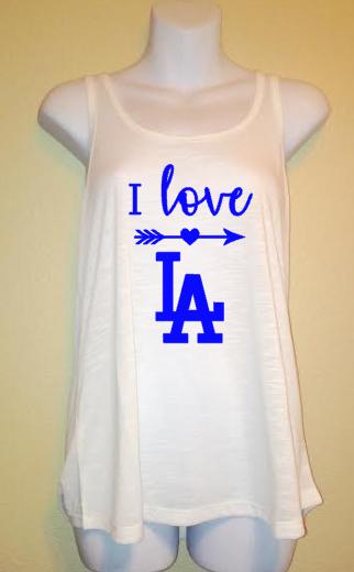bd5ea2ce I Love LA, Dodgers Baseball, Los Angeles, Women's Tank Top Shirt, Sports,  Go Blue