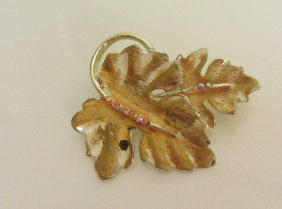 Vintage 1950's Gold plate Gold Leaf and pink gem by SandyLeesAttic, $12.95 30% off coupon code: ItsB4Chrstmas