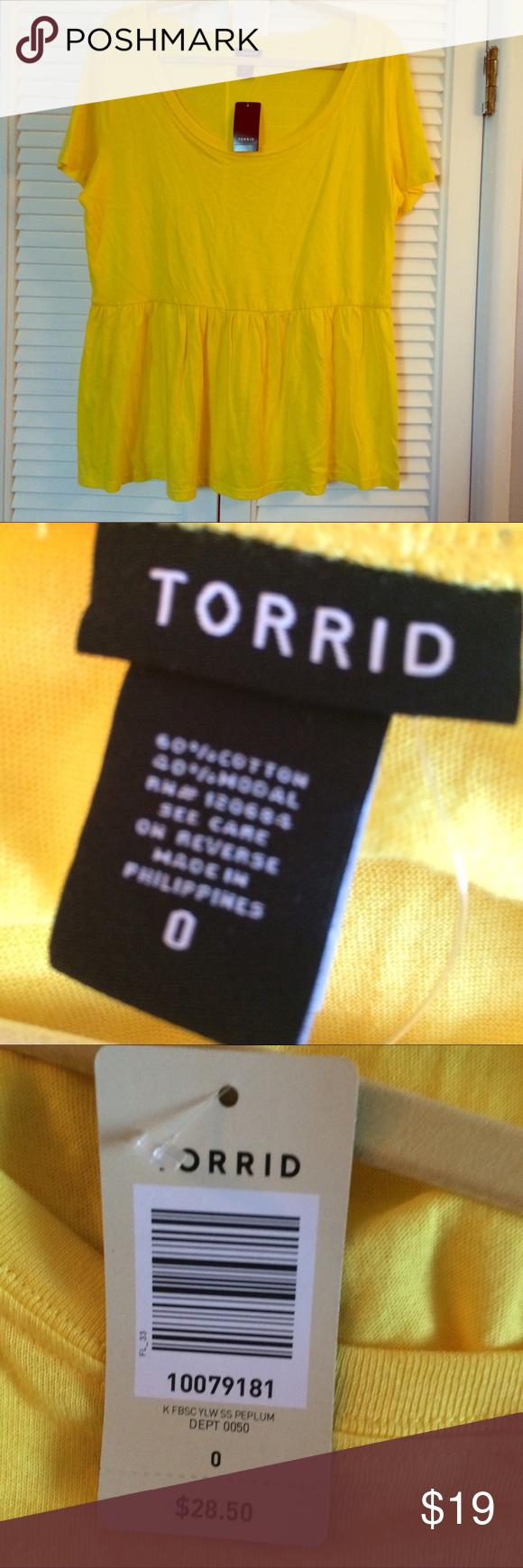 """Torrid Peplum Yellow Torrid peplum top. Size 0x. New with tags. It's more of a causal shirt than a """"dress up"""" business attire shirt. torrid Tops"""