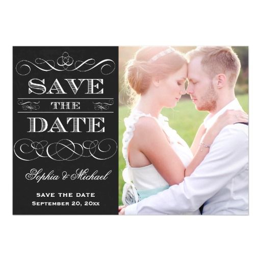 Save the Date Vintage Typography Chalkboard Style