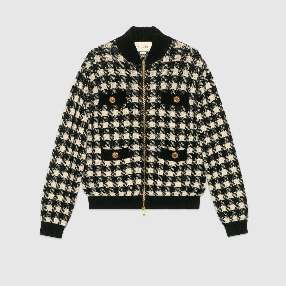 Shop The Houndstooth Jacket In Black Rtw At Gucci Com Enjoy Free Shipping And Complimentary Gift Wrapping Pakaian Set Baju Atasan Wanita Gaya Berpakaian [ 980 x 980 Pixel ]