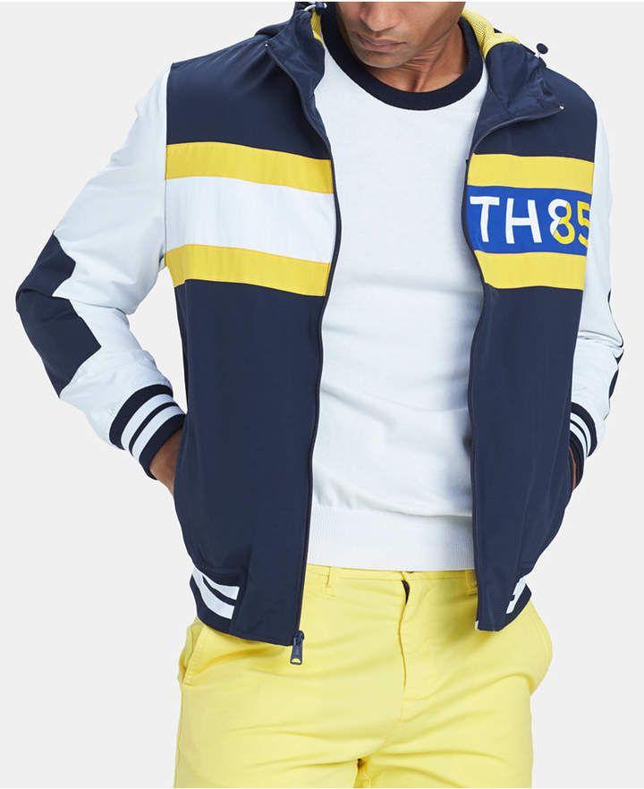 b7118774 Tommy Hilfiger Men's Bayport Colorblocked Hooded Logo Windbreaker ...