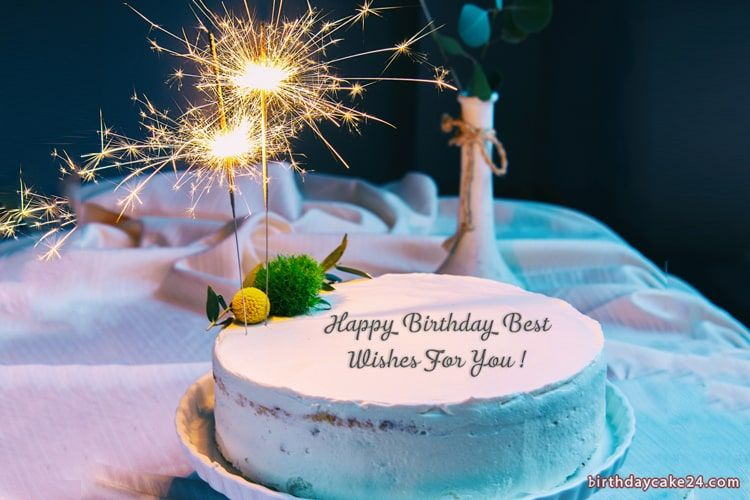 Write name on Fireworks Candles Birthday Cake For Happy