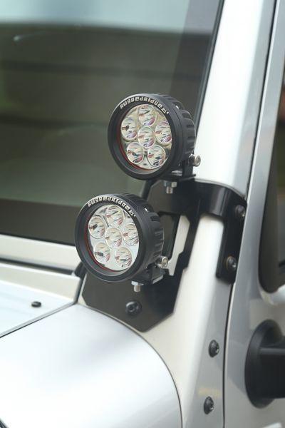 "Rugged Ridge Dual APillar Light Mount Kit with 3.5"" Round"