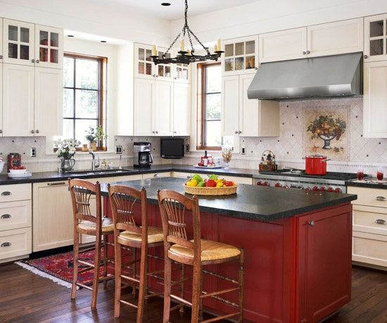 Red Island With White Cabinets Exactly What I Want Brick