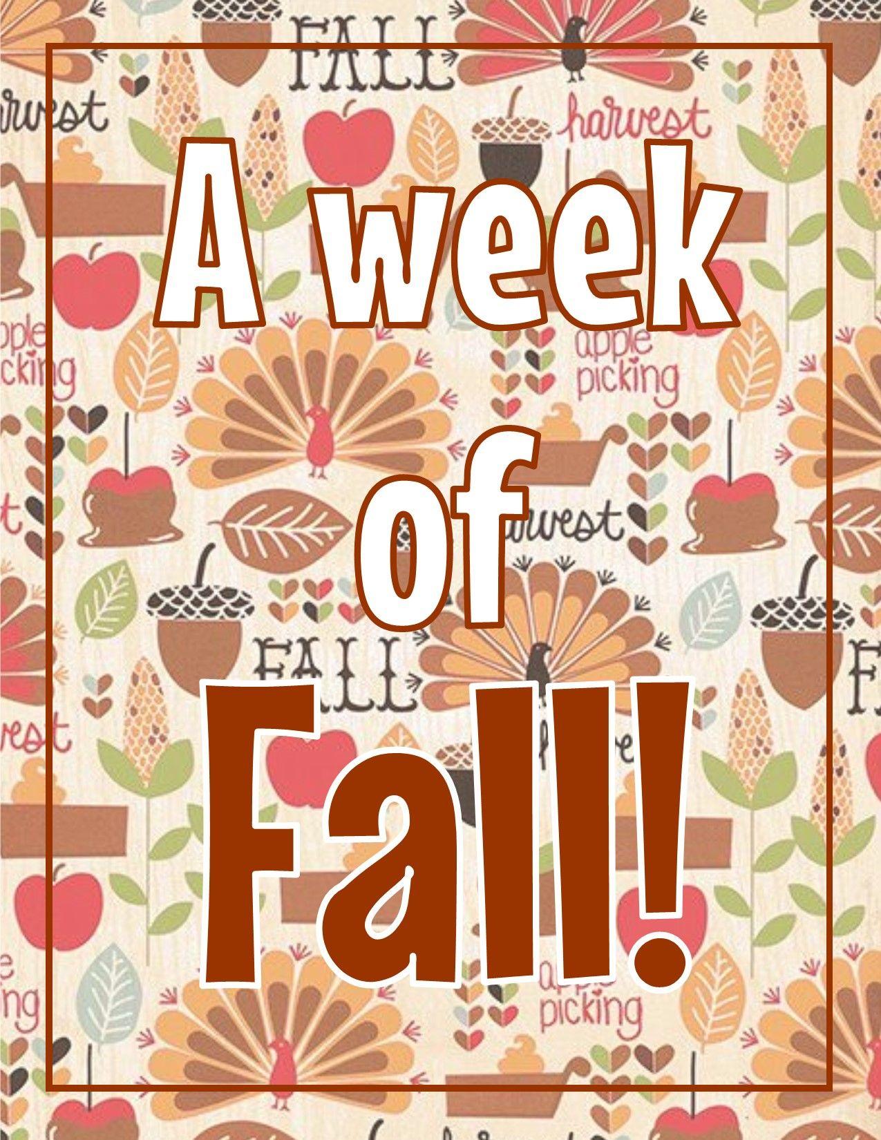 A Week Of Fall Prek Kindergarten Curriculum