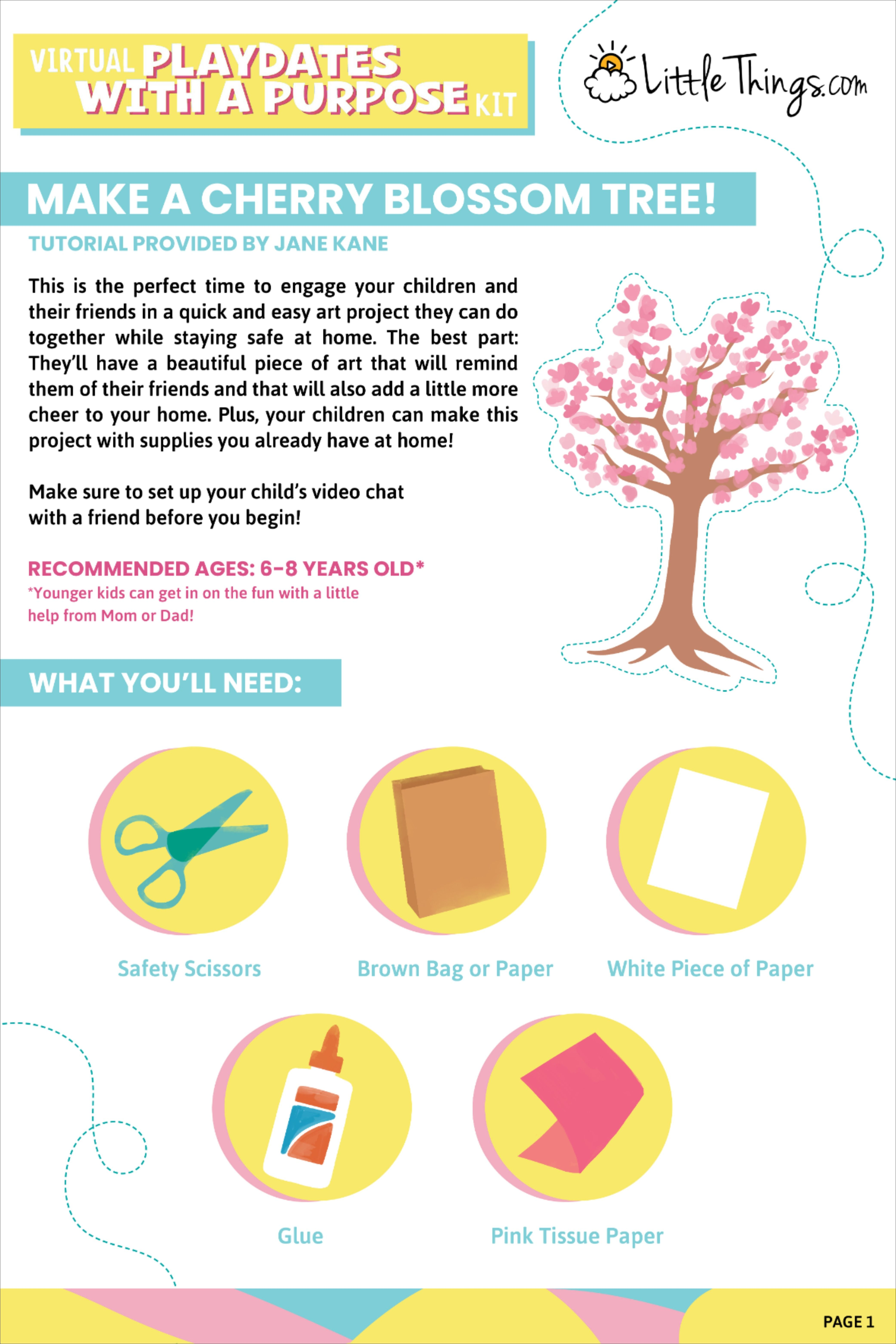 Now is the perfect time to engage your kids and their friends in a quick and easy project that they can do on their own with materials you have around the house! Our #virtualplaydate kit has everything your children need to make their own #cherryblossomtree in 5 easy steps. This project should only take around 30 minutes and is ideal for children aged 6-8 years old. #kidsartproject #diykids #momlife