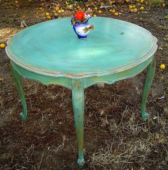 Vintage dining table french round painted aqua with orange and yellow undertones distressed - Painted dining tables distressed ...