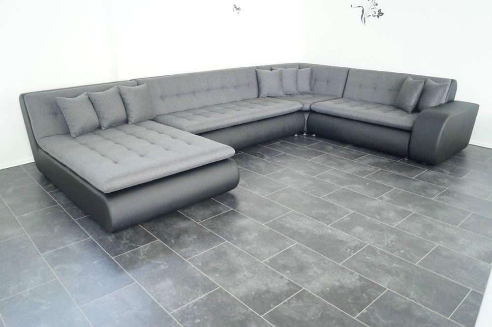 NEU mega Sofa COuch Wohnlandschaft Leder IMITAT STRUKTUR ...
