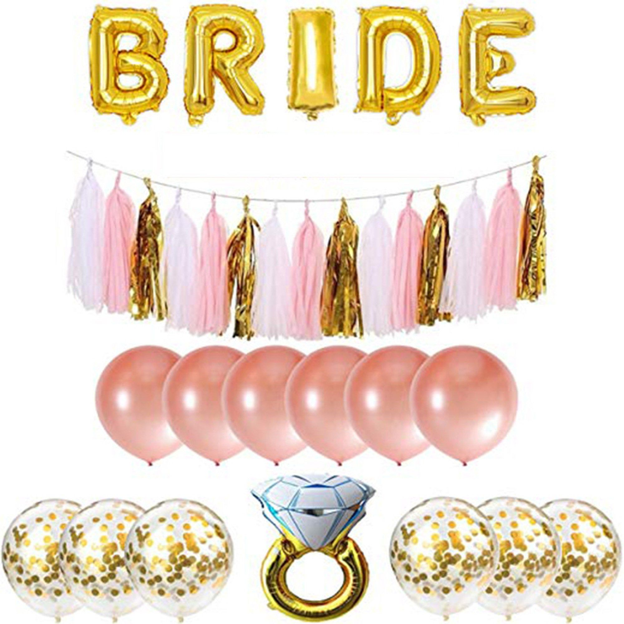 Gold Bride To Be Diamond Ring Wedding Banner Bachelorette Party Decoration