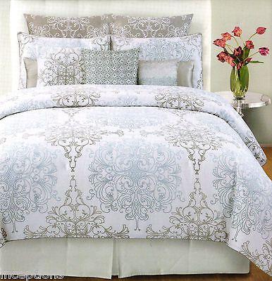 cool & relaxing bedding- tahari grey, white & blue in milan scroll