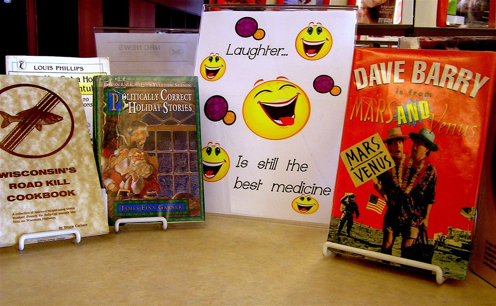 Books on display that will make you laugh. | Come check out one of the comedy books at the Lester Public Library