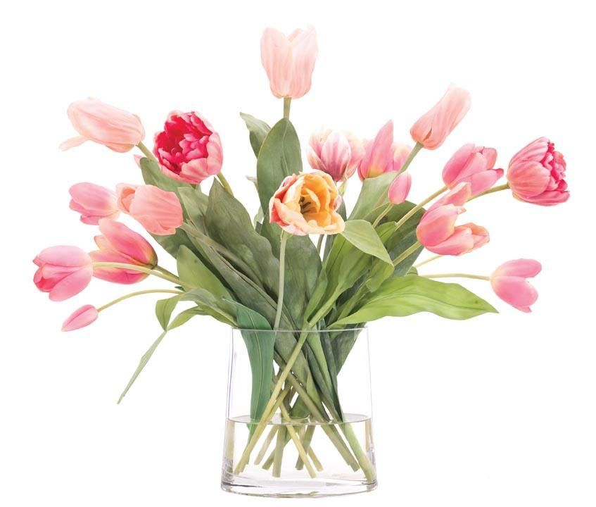 Natural Decorations, Inc. - Tulip Apricot Pink Cream Glass Oval