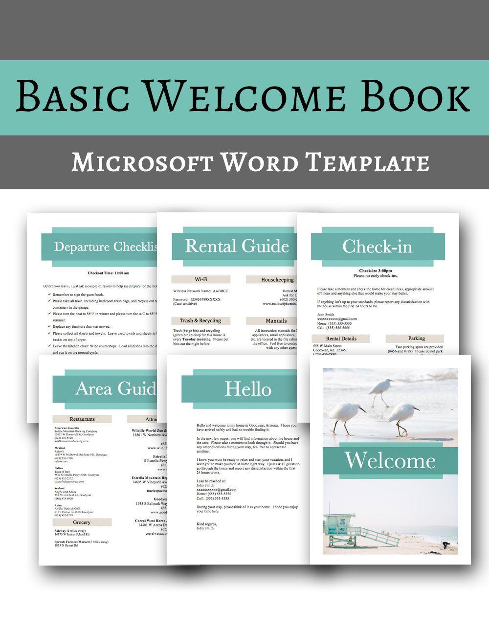 Basic Book Vacation Home Printable Template, MS