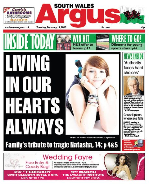 @southwalesargus front page 19.02.13 - Family devastated at death of 'beautiful' Caerwent girl, 14