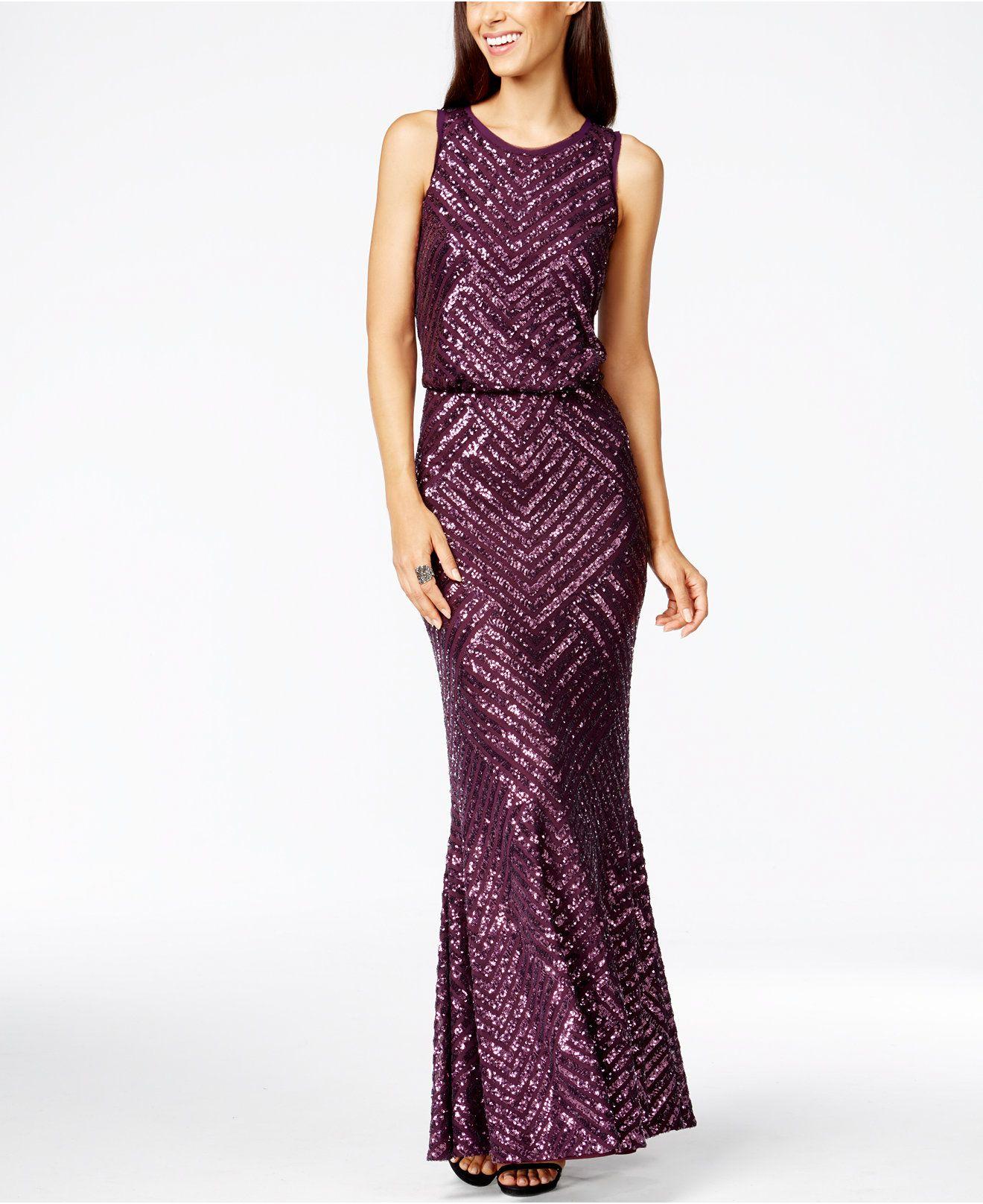 Calvin Klein Sequin Open-Back Mermaid Gown - Dresses - Women ...