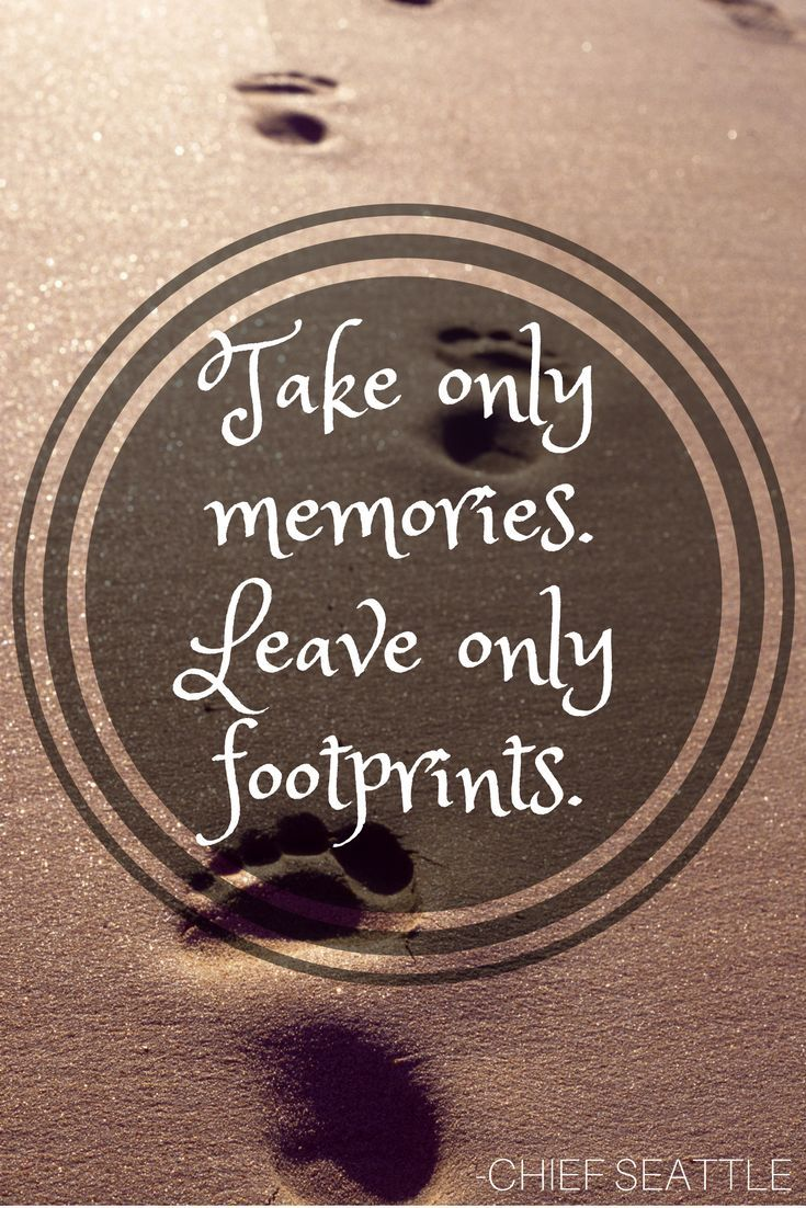 Take Only Memories Leave Only Footprints Chief Seattle Travel Quote Inspirational Quotable Thethirs Adventure Quotes New Quotes New Beginning Quotes
