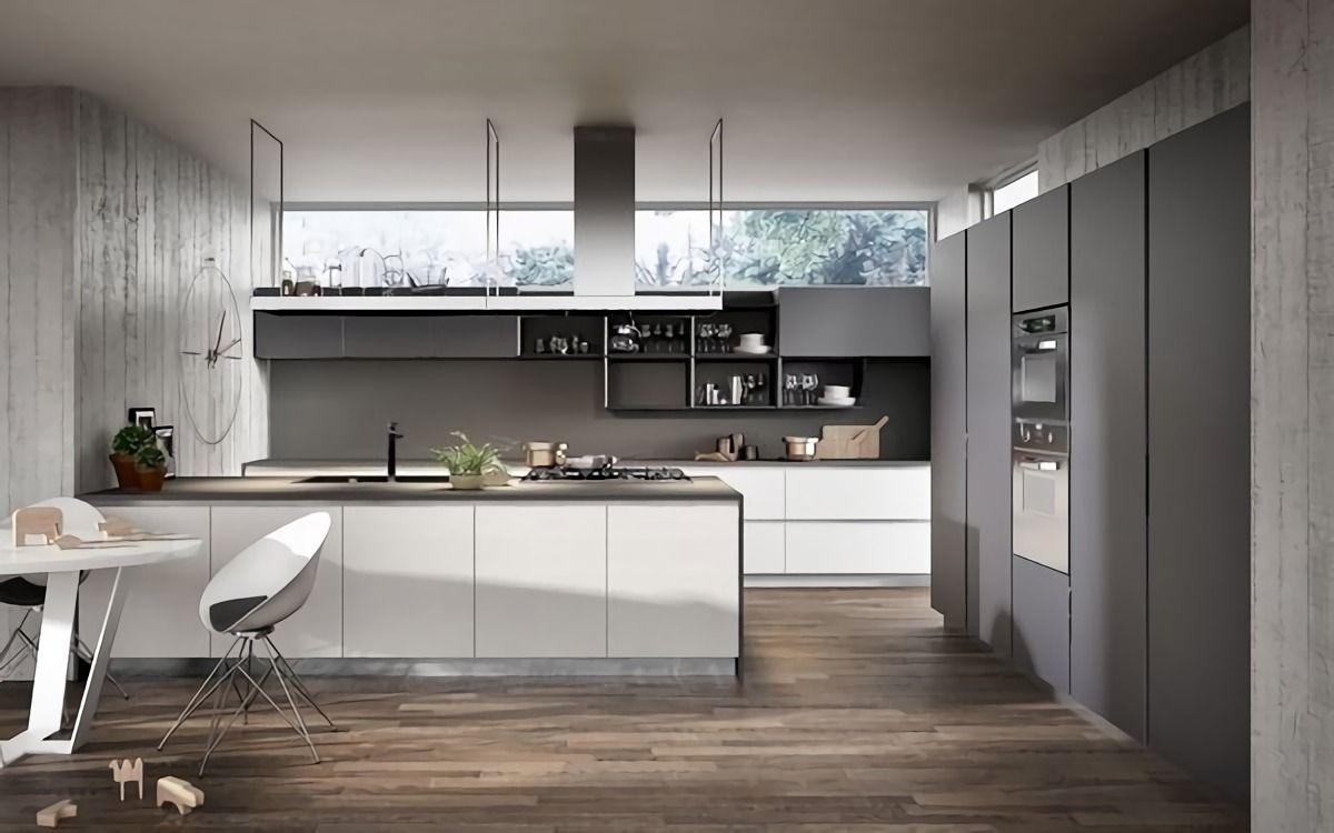 Schon Grau Modernen Küchen Und Weiße Küche Design Ideen.