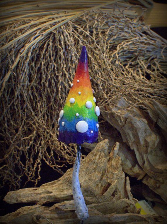 Rainbow fairy garden fantasy mushroom  ,polymer clay toadstool Home decor,Fairy Garden