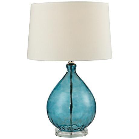 Wayfarer Teal Blue Blown Glass Table Lamp 7r949 Lamps Plus Teal Table Lamps Table Lamp Teal Lamp Blue glass lamp base