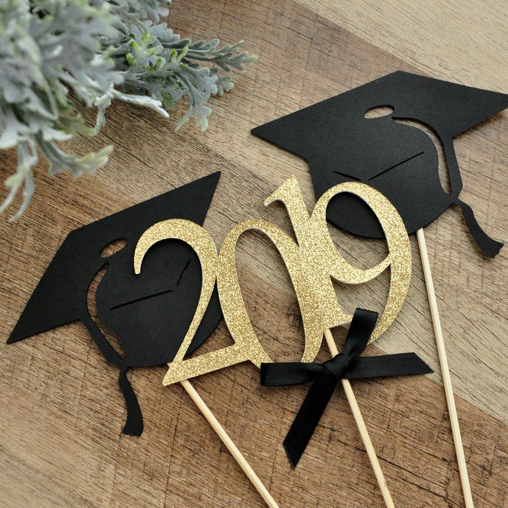 . White and Silver Centerpiece for Graduation Party 1 2019 Wand, 2 Grad Cap Wand Graduation Centerpieces. Graduation Party Decoration