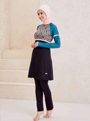 15200516987dc Powder - Green - Black - Multi - Fully Covered Swimsuits - Mayovera Muslim  Swimwear,