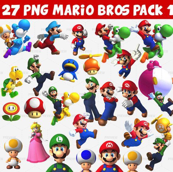 Mario Bros 27 Png Pack 1 Instant Download Hermanos Super Mario Luigi Bolsos Estampados