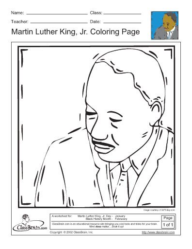 Martin Luther King Jr. Coloring Page | January Crafts/Lesson Ideas ...
