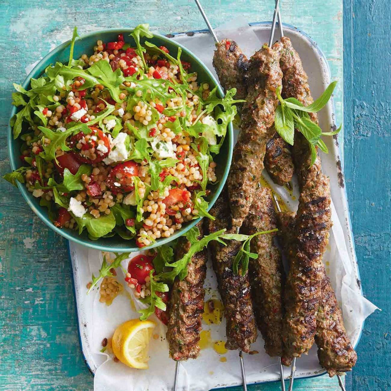 Lamb Kofta With Pearl Couscous Salad Pearl Couscous Salad Couscous Salad Couscous Salad Recipes