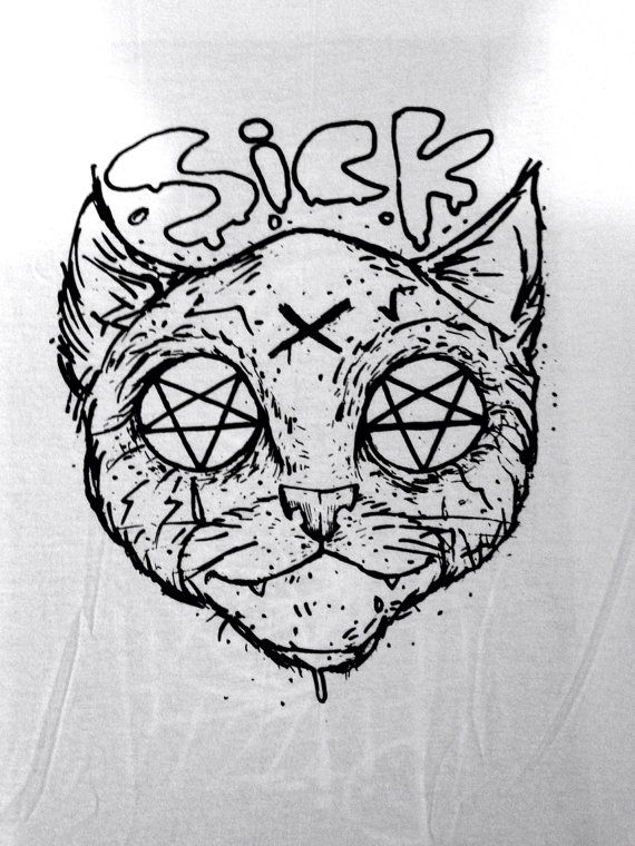 Pizza Pentagram Sick Kitty T Shirt With Images Dark Art