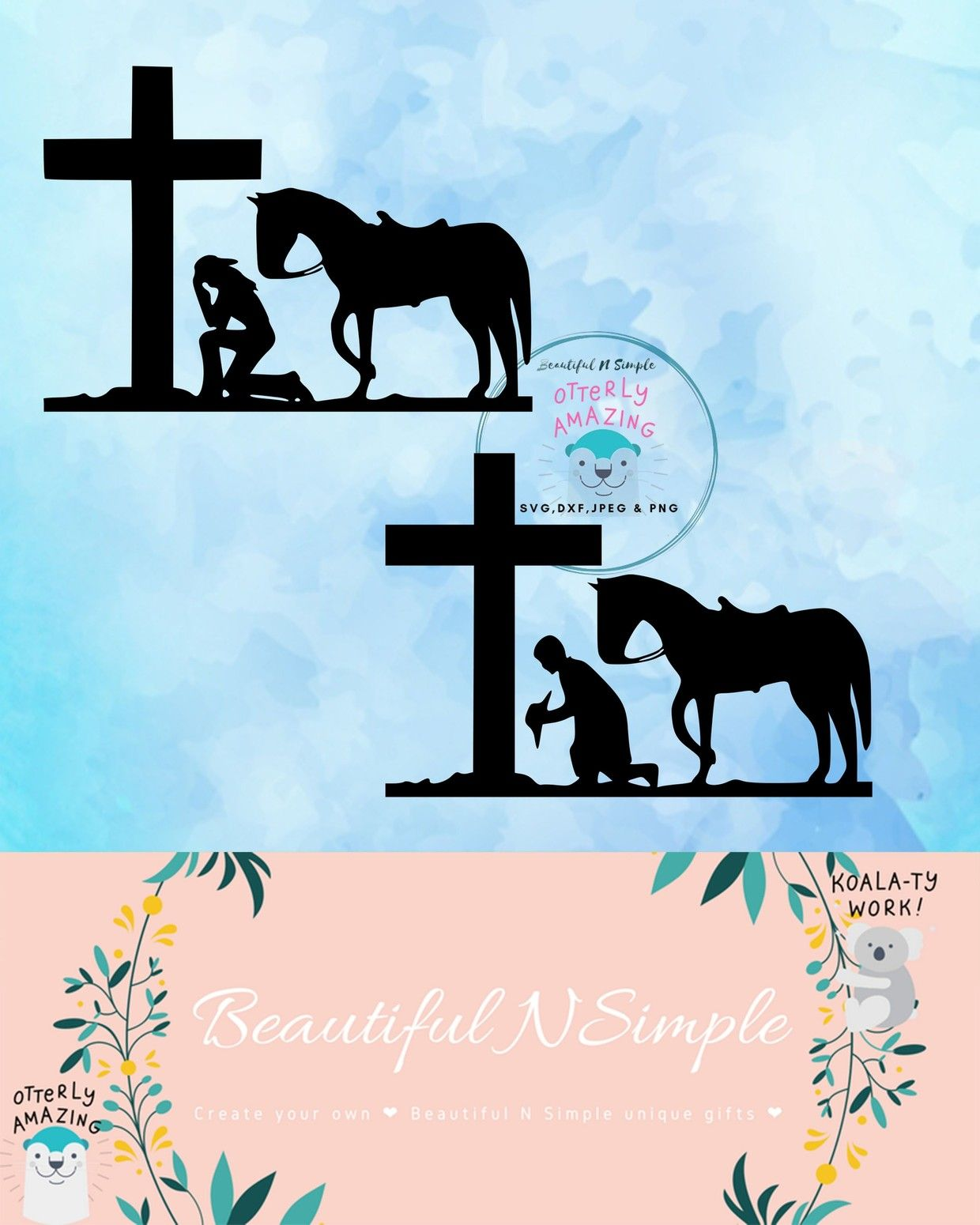 Cowboy & Cowgirl kneeling at the Cross Country SVG DXF
