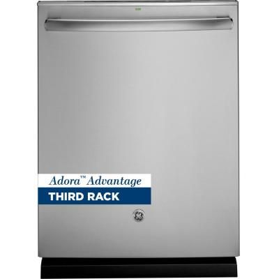 Ge Adora Top Control Dishwasher In Stainless Steel With Stainless Steel Tub And Steam Prewash 48 Dba Ddt595ssjss The Home Depot Top Control Dishwasher Steel Tub Built In Dishwasher