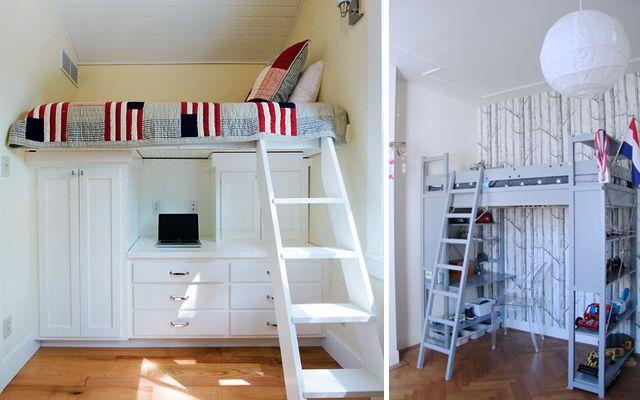 Como decorar espacios peque os con camas en alto pieza - Cama en alto ...