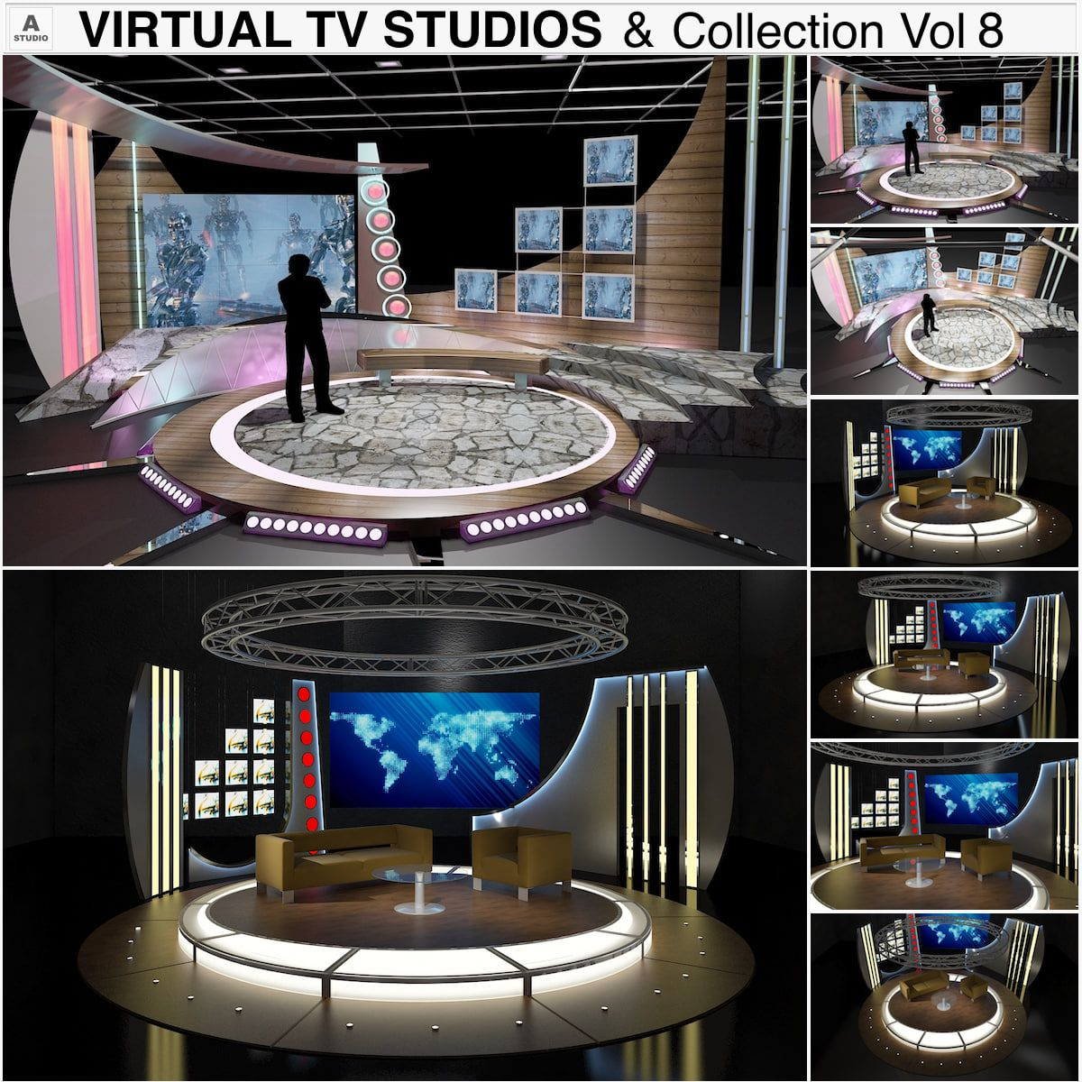 tv studio furniture. Tv Studio Furniture. 3D Virtual Chat Furniture 0