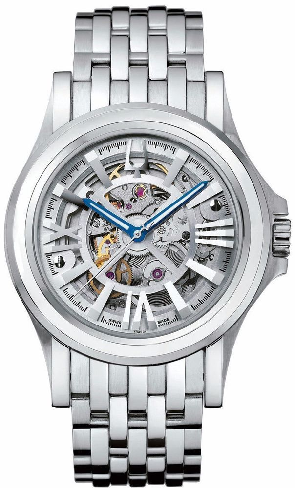 3ad8a0a1ced Bulova Accutron Men s 63A001 Kirkwood Skeleton Dial Automatic Silver Tone  Watch 042429429741