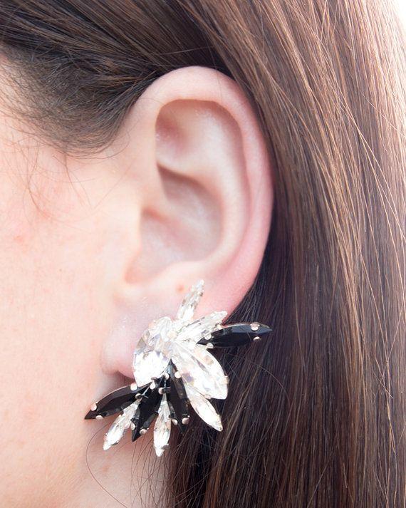 Manchette d'oreille en argent noir & blanc par MayaValentino