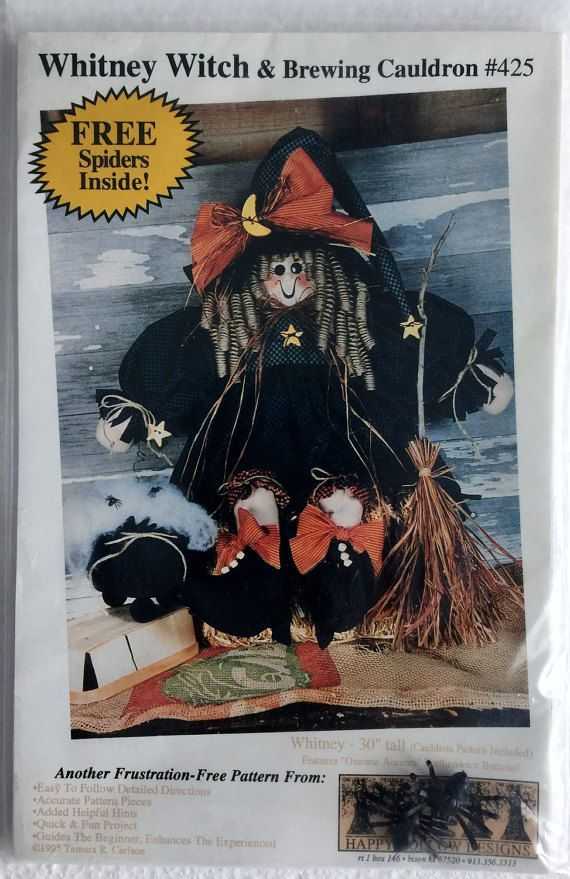 Whitney Witch 30 Door Greeter Halloween Doll Sewing by Vntgfindz