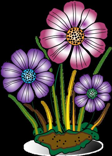 Bunga Di Gambar Vektor Spons Digital Flowers Art Clip Art