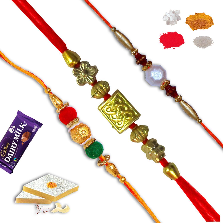 Set of three rakhi.combo of three different rakhis. #Rakhi #Gifts#Rakhiset #SendRakhi#OnlineRakhi#freeshipping#rakhitoindia#velvetrakhi#pearlrakhi#beadrakhi