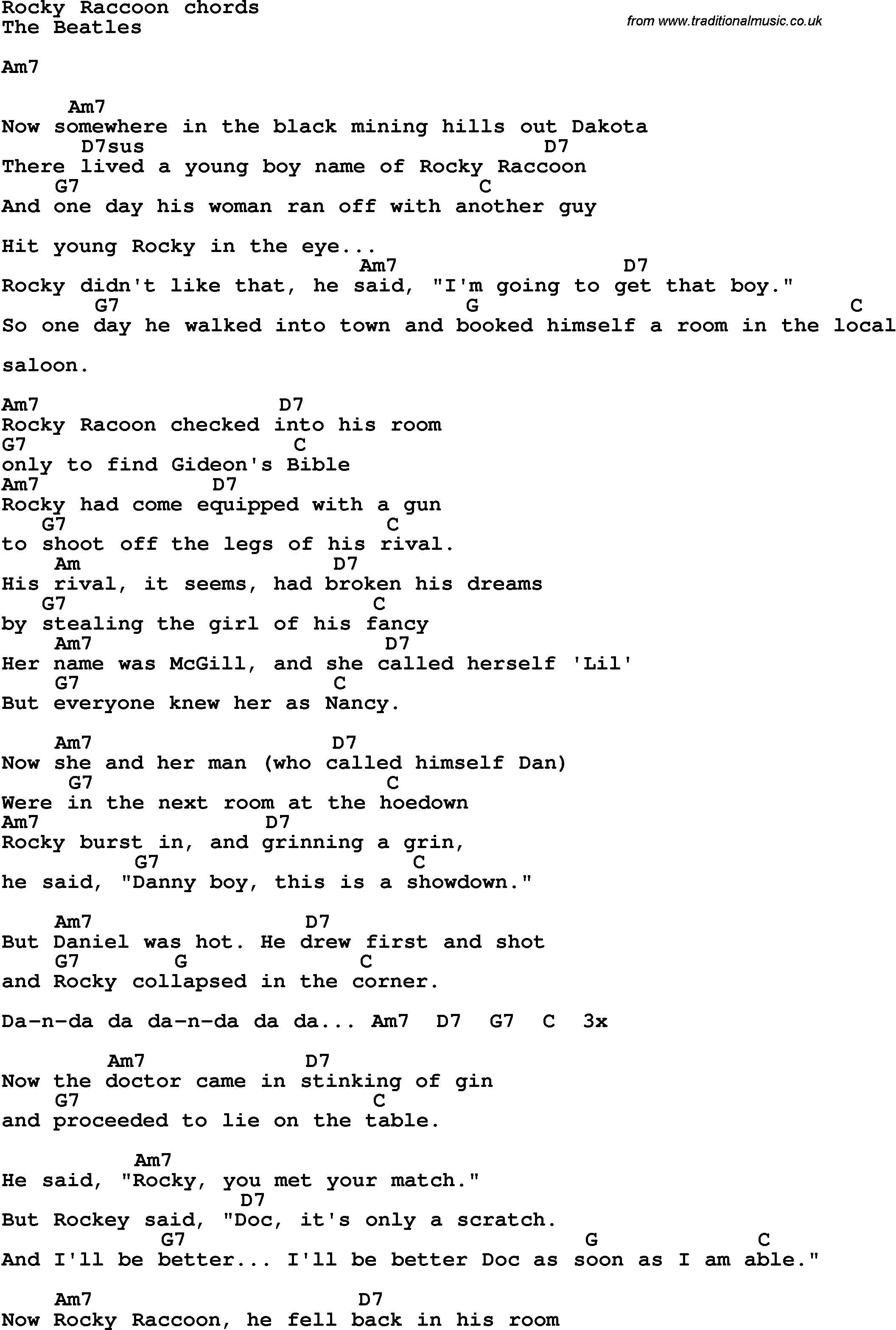 Song Lyrics With Guitar Chords For Rocky Raccoon The Beatles