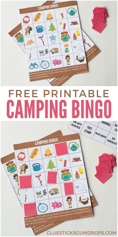 Camping Bingo Free Printable Cards | Camping bingo ...