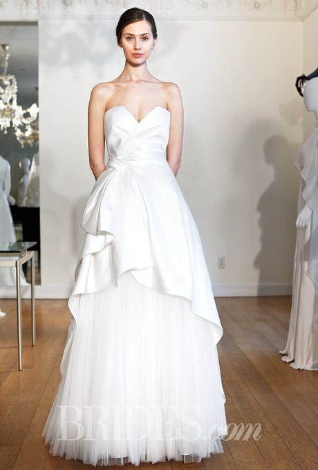 Alberta Ferretti Sweetheart Neckline A Line Wedding Dress With Peplum Skirt For Lean And Straight Body Types Spring 2015 Collection