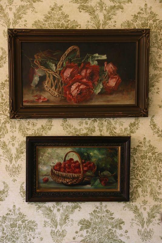 Still life art on toile wallpaper - cottage style