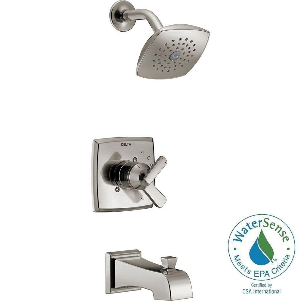 Delta Ashlyn 1 Handle Pressure Balance Tub And Shower Faucet Trim Kit In Stainless