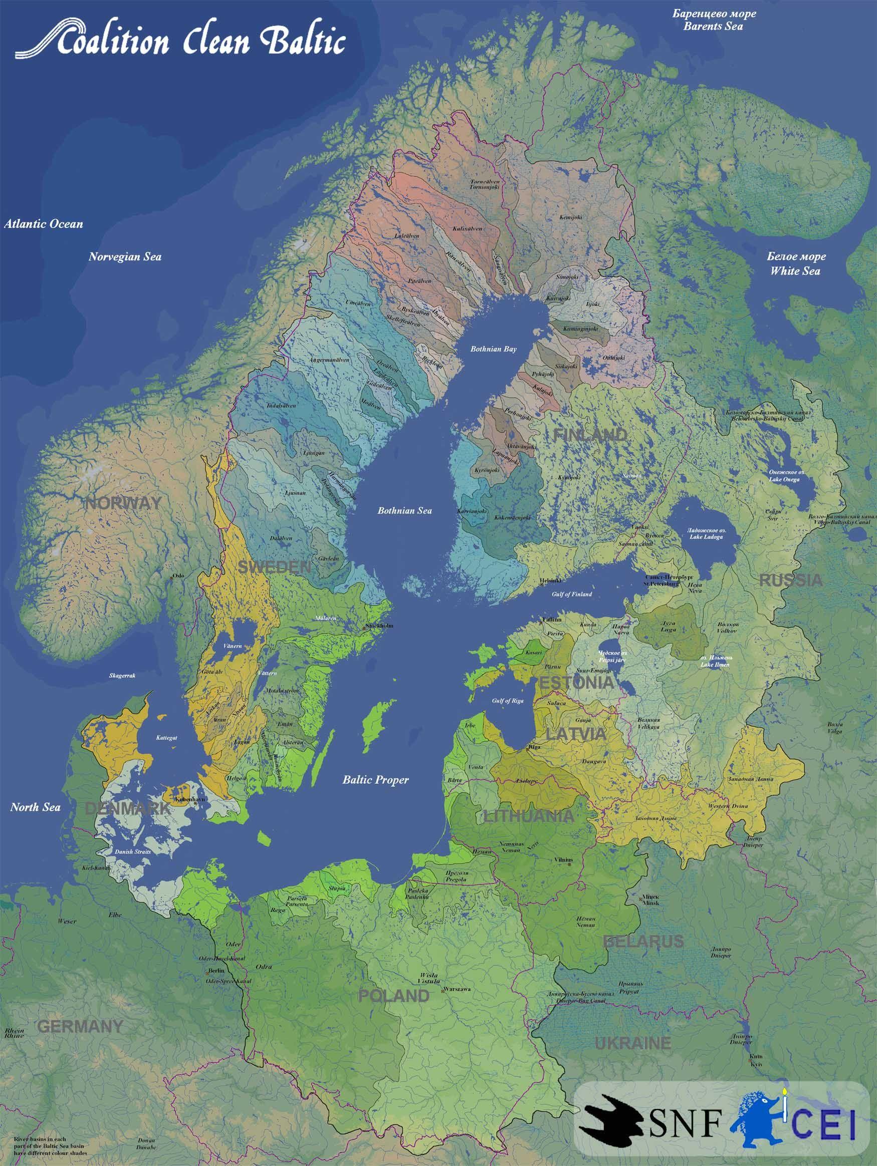 Baltic Sea River Basins Map - Baltic Sea • mappery | Travel | Map ...