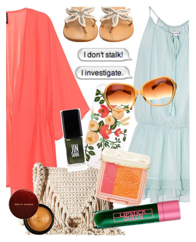 """Summer Fun!"" by elliewriter ❤ liked on Polyvore featuring Elizabeth and James, ASPIGA, Billabong, Rifle Paper Co, Oliver Peoples, Lipstick Queen, JINsoon, Paul & Joe Beaute and Kevyn Aucoin"