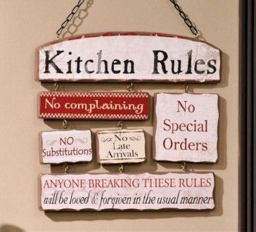 Ceramic Kitchen Wall Plaques On Wooden Rules Sign Plaque Metal Decor Ebay