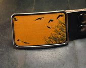 Birds on yellow belt buckle, The migratory birds leather belt buckle