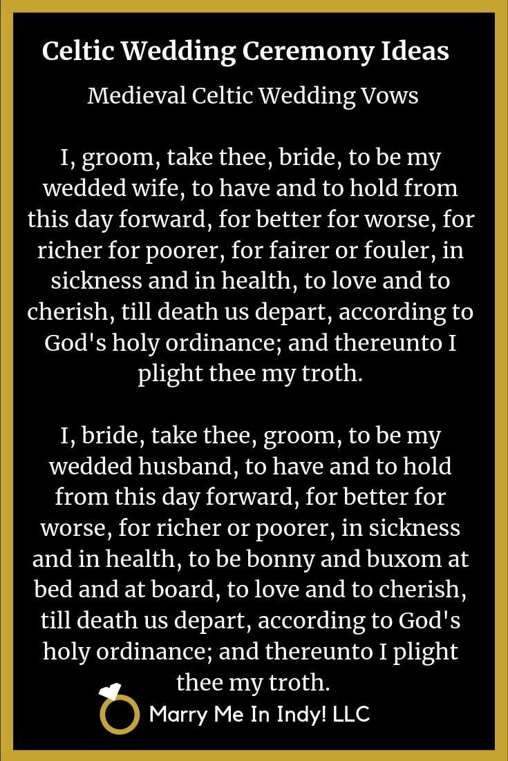 Medieval Celtic Wedding Vows: I, groom, take thee, bride ...